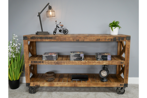 3 TIER INDUSTRIAL SHELVES HARDWOOD DISPLAY STORAGE UNIT H89cm x W153cm x D42cm | furniturechecklist.co.uk
