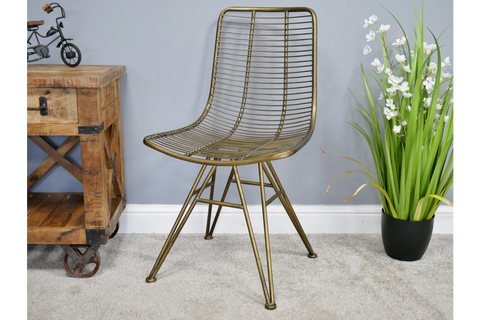 INDUSTRIAL METAL OFFICE / DINING CHAIR WIRED DESIGN GOLD FINISH H87cm x W49cm x D50cm | furniturechecklist.co.uk