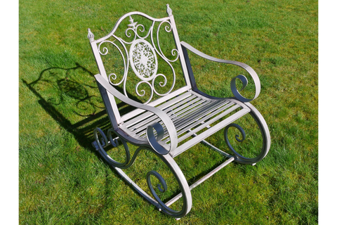 METAL GARDEN ROCKING CHAIR ANTIQUE GREY ORNATE STYLE  H88cm x W64cm x D90cm | furniturechecklist.co.uk