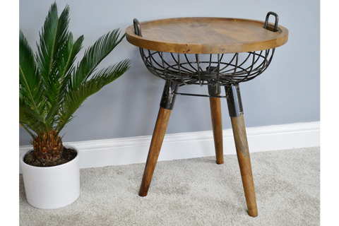 BASKET SIDE END TABLE H65cm x W53cm x D53cm | furniturechecklist.co.uk