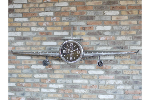 Metal Aeroplane Clock W200cm x H60cm x D27cm | furniturechecklist.co.uk