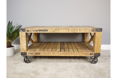 Industrial Wooden Coffee Table Cart Wheel Style | furniturechecklist.co.uk