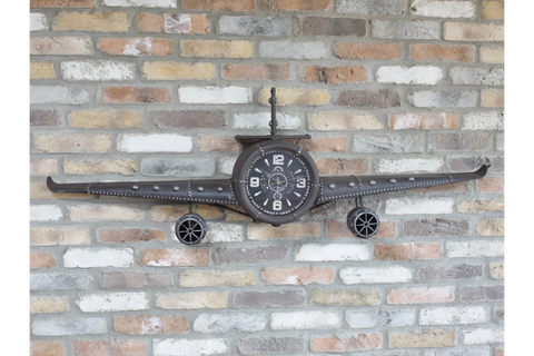 Metal Aeroplane Clock  H50cm x W145cm x D20cm | furniturechecklist.co.uk