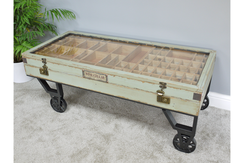 Industrial Cart Wheels Coffee Table Glass Top H46cm x W122cm xx D55cm | furniturechecklist.co.uk