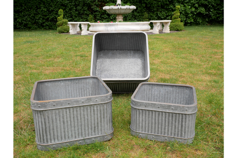 S/3 METAL TUB PLANTERS GALVANISED SQUARE FLOWER PLANTERS FLOWER POTS | furniturechecklist.co.uk