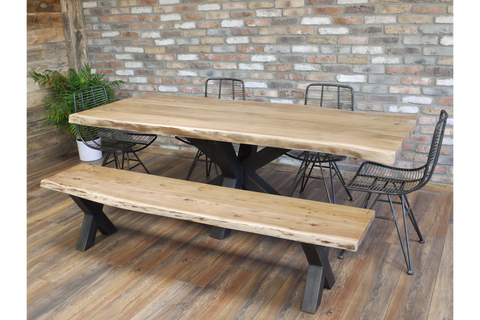 Live Edge Solid Wood Dining Table & Bench