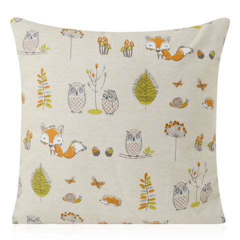 Fryett's Woodland Fox and Owl Handmade Cushion Cover