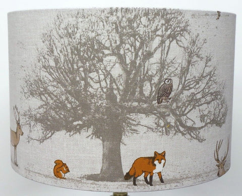 Fryetts Woodland Tree, Fox, Owl & Stag Handmade Drum Lampshade | furniturechecklist.co.uk