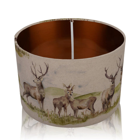 Moorland Stag Copper Style Inner Handmade Drum Lampshade | furniturechecklist.co.uk