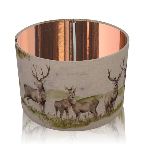 Moorland Stag Mirrored Copper Style Inner Handmade Drum Lampshade | furniturechecklist.co.uk
