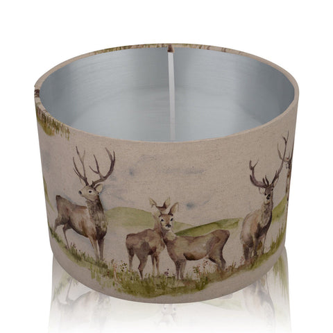 Moorland Stag Brushed Silver Style Inner Handmade Drum Lampshade | furniturechecklist.co.uk