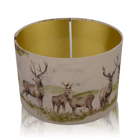 Moorland Stag Brushed Gold Style Inner Handmade Drum Lampshade | furniturechecklist.co.uk