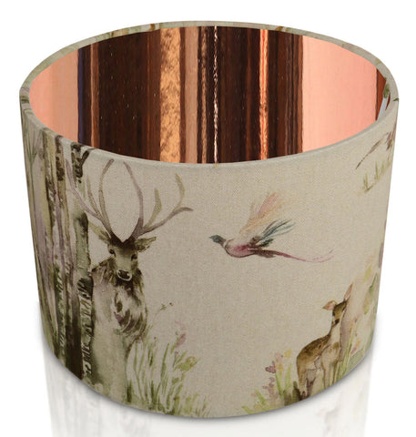 Enchanted Forest Mirrored Copper Inner Handmade Drum Lampshade | furniturechecklist.co.uk