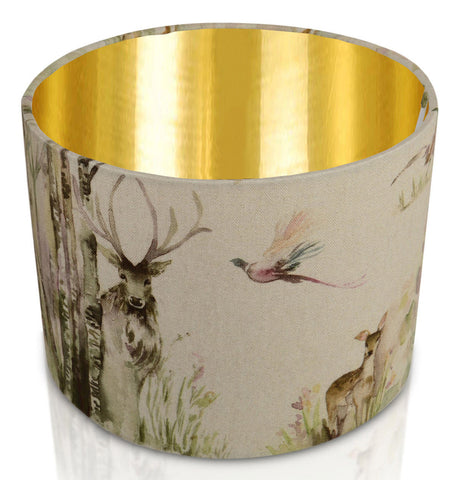Enchanted Forest Mirrored Gold Inner Handmade Drum Lampshade | furniturechecklist.co.uk