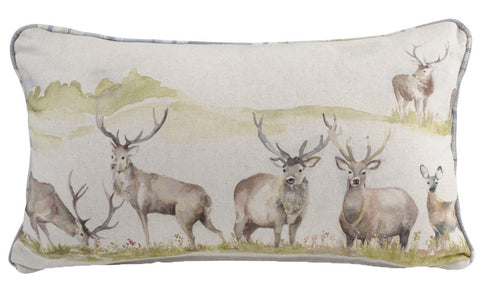 Moorland Stag Deer Filled Bolster Cushion 30cm x 50cm | furniturechecklist.co.uk