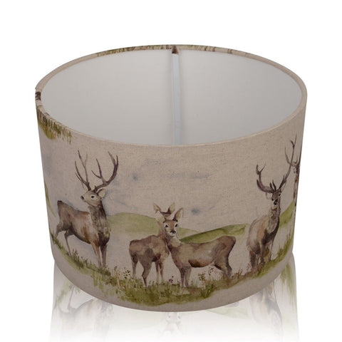 Moorland Stag White Inner Handmade Drum Lampshade | furniturechecklist.co.uk