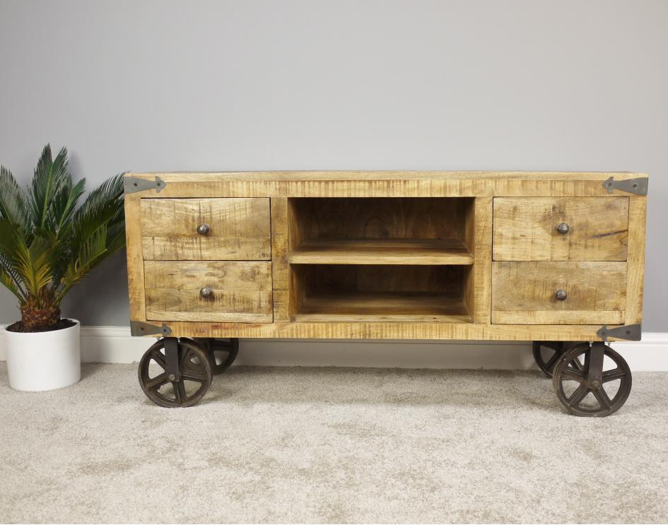 Industrial TV Stand On Wheels