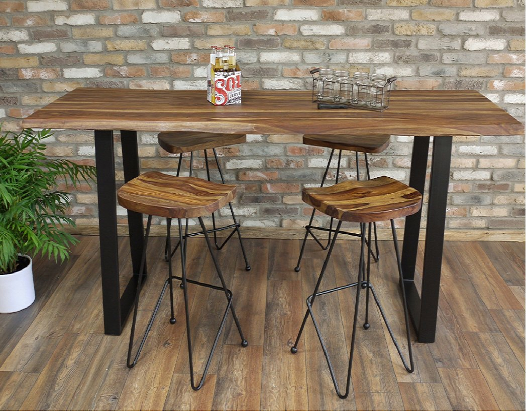 Living Edge Bar / Breakfast Table & 4 Bar Stools