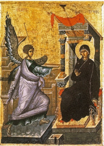 Byzantine icon of the Annunciation, 14th c., Ohrid