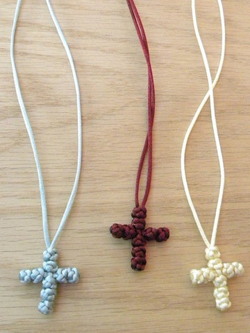 Neck Cross with knots (satin cord)