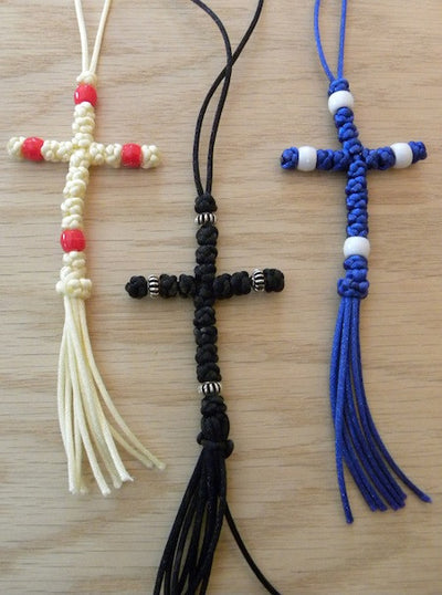 Car Cross with knots (satin cord)