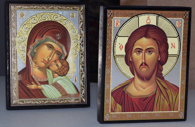 Jesus Christ and Most Holy Theotokos Pair Icons(P13)