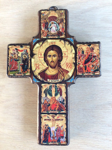 Hanging Cross with icons (432C)
