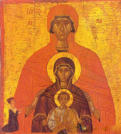 St. Anna with Theotokos and our Savior Jesus Christ icon