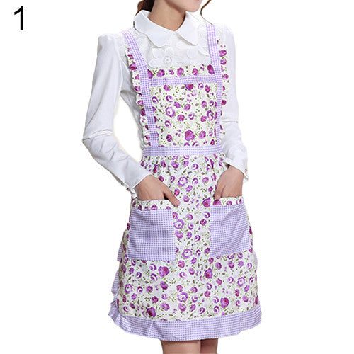Women's Bib Comfy Cooking Floral Pocket Kitchen Apron