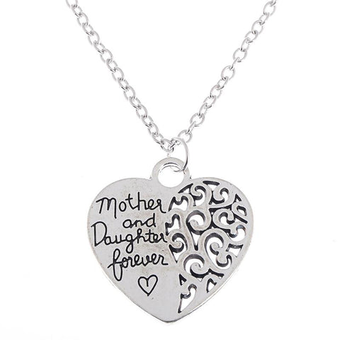 Mother & Daughter Forever Heart Pendant Necklace