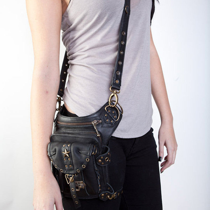 Leather Gothtic Hip-Holster Messenger Pack