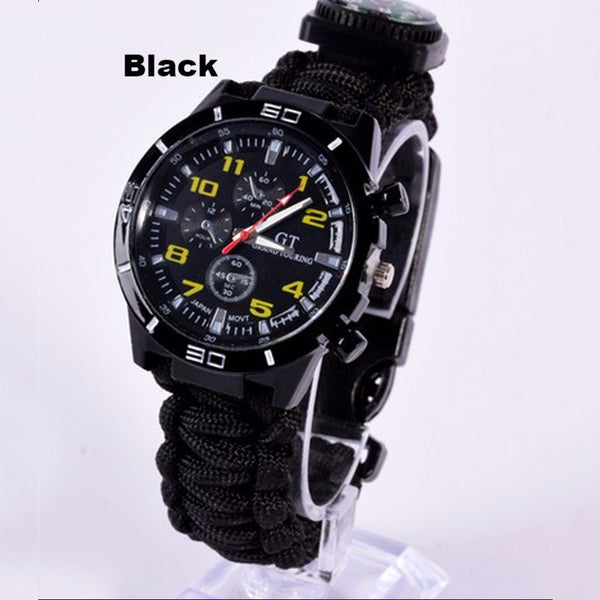 5 in 1 Paracord Survival Watch-Black