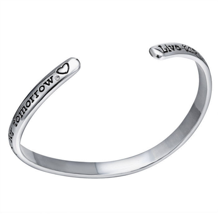 Curved Engraved Positive Message Bangle