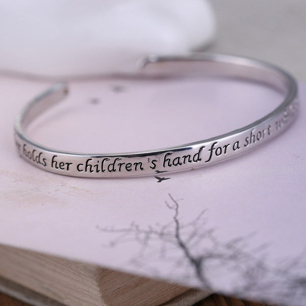 A Mother Holds Her Child's Hand Heart Bangle