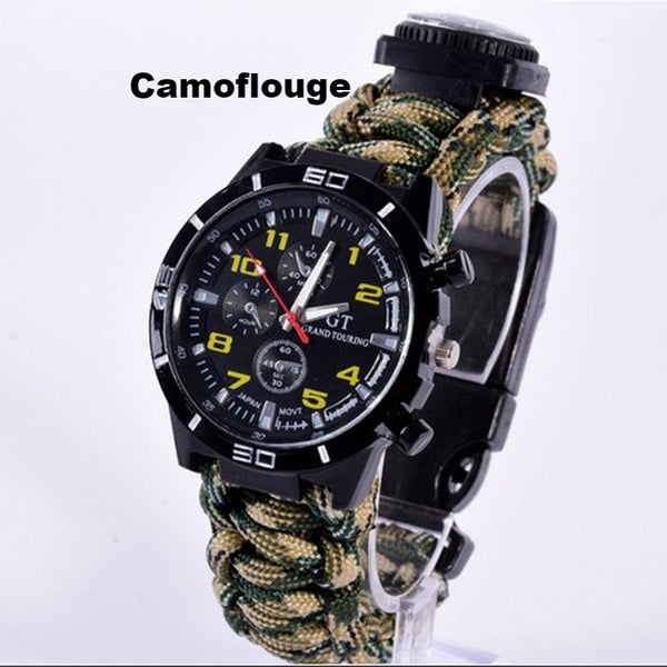 5 in 1 Paracord Survival Watch-Camoflouge