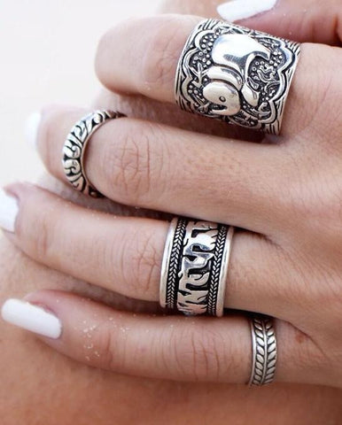 4 Pcs Elephant Ring Set
