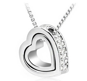 18K Gold Crystal Double Heart Pendant Necklace