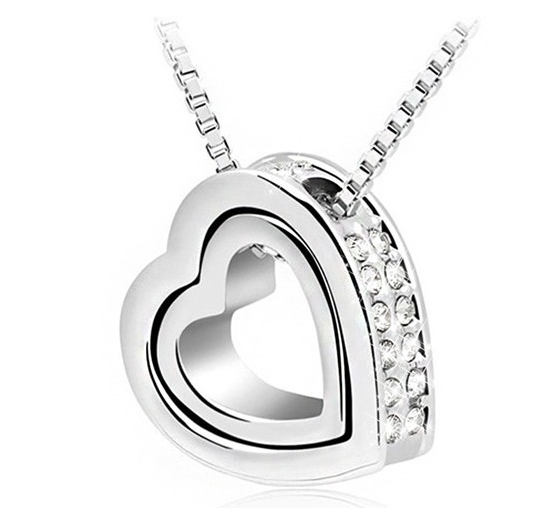 18k gold crystal double heart pendant necklace strike envy 18k gold crystal double heart pendant necklace mozeypictures Image collections