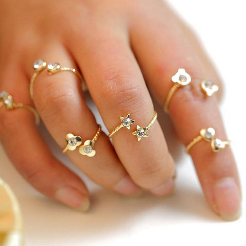 6pcs/lot Shiny Punk style Gold plated Stack Band clover birthstone rhinestone joint tail Finger Knuckle Ring Set for women