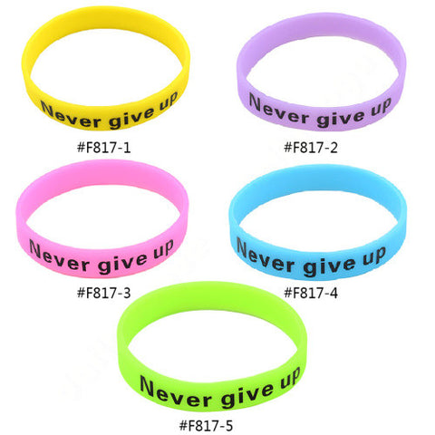 'Never Give Up' Glow in the Dark Wristband Bracelet
