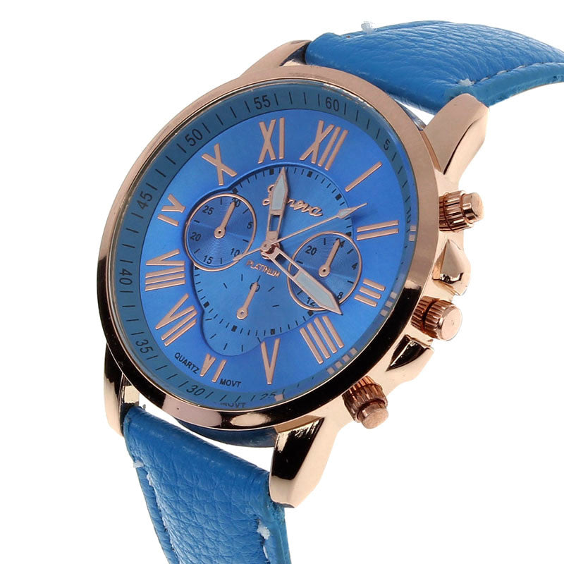 10 Candy Color Geneva Roman Numerals Watch Leather Band