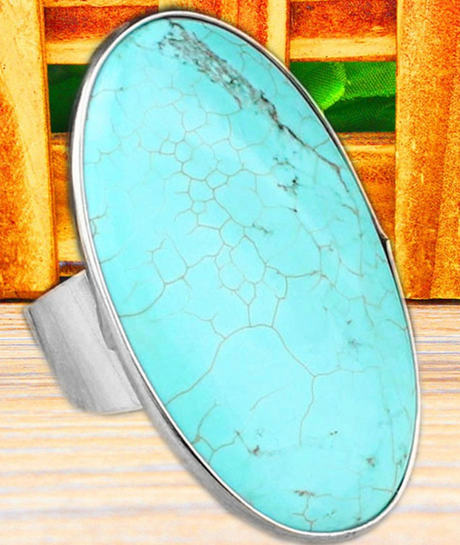 New Silver Plated Real Turquoise Bead Ring
