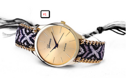 Geneva Multicolor Braided Rope Bracelet Watch