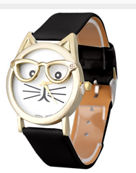 Cute Glasses Cat Pattern Women Watch