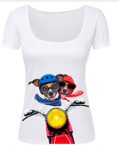 Adorable Cool Ladies 3D Scooter Dogs  T Shirt