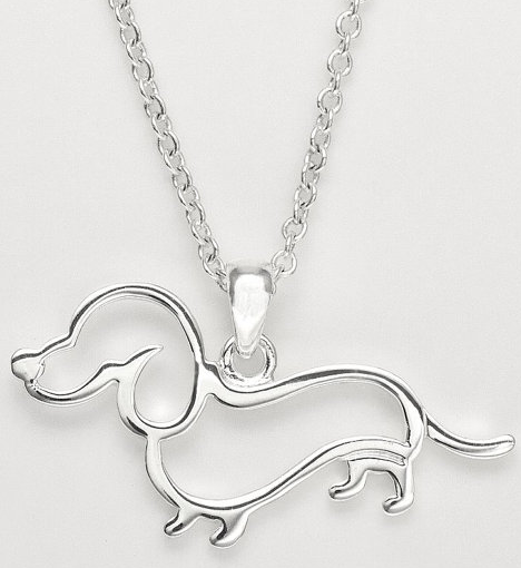 Cute White Gold Dachshund Necklace