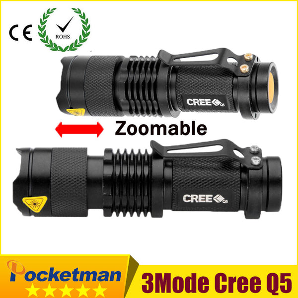 Super Mini 2000 Lumens CREE LED 3 Modes Zoomable Flashlight