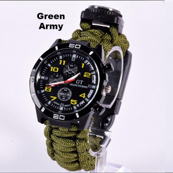 5 in 1 Paracord Survival Watch-Army Green