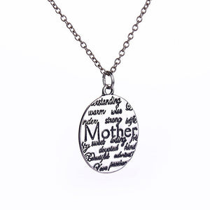 Mother Engraved Round Pendant Necklace