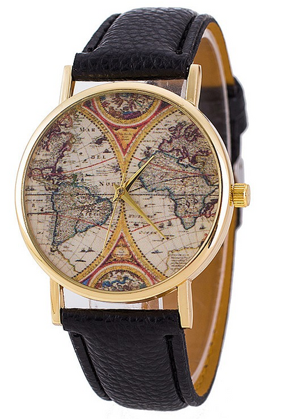 Stylish Women World Map Watch With Leather Straps
